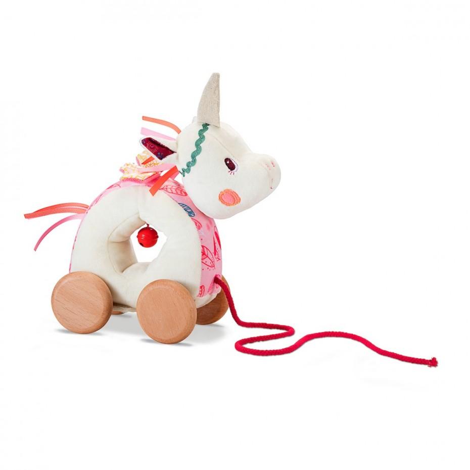 Louise, cuddly pull-along unicorn
